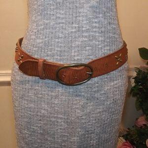 EUC American Eagle Boho Brass Studded Leather Belt
